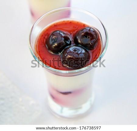 fresh black forest cherry dessert in a glass - stock photo