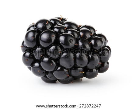 fresh blackberry berry isolated on white - stock photo
