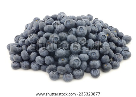 fresh blueberries on a white background - stock photo