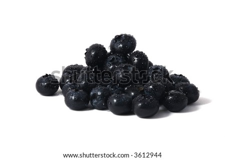 fresh blueberries with water drops - stock photo