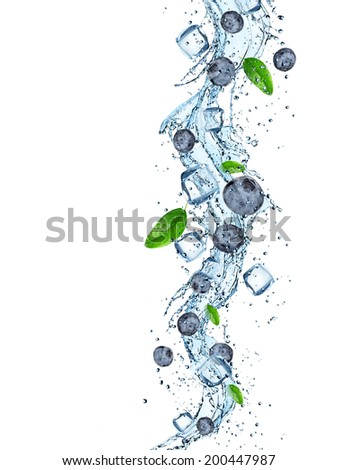Fresh blueberries with water splash over white background - stock photo