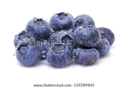 Fresh blueberry on white background - stock photo