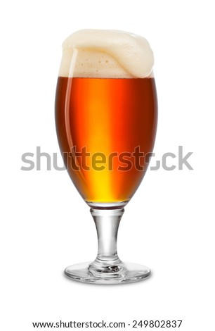 fresh bock beer in tulip on white background - stock photo