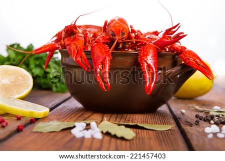 Fresh boiled crawfish - stock photo