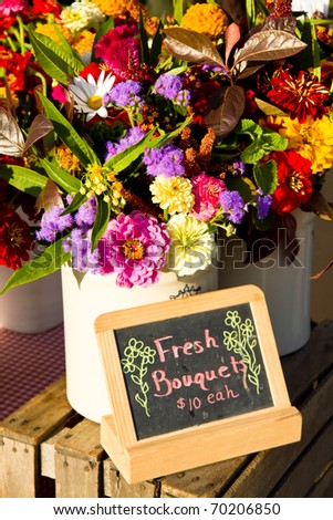 Fresh bouquets for sale - stock photo