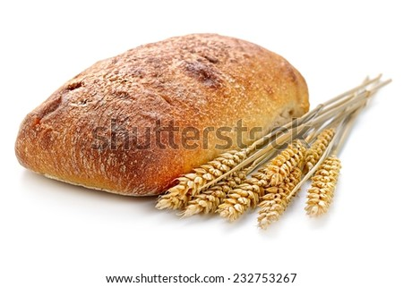 fresh bread  and wheat on white - stock photo