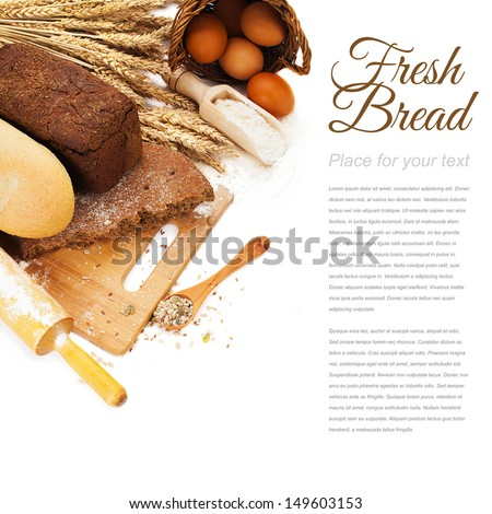 fresh bread on cutting Board, scoop with flower and seeds isolated over white - stock photo