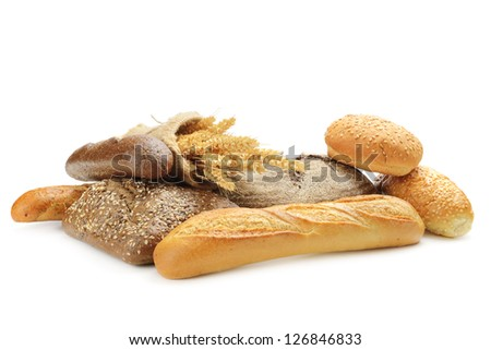 fresh bread on the white background - stock photo