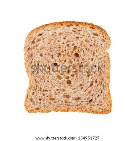 fresh bread slice isolated on white background - stock photo
