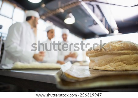 Fresh bread with bakers behind him in the kitchen of the bakery - stock photo