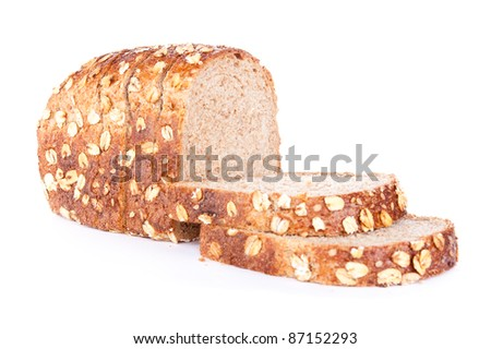 fresh bread with sesame and oats flakes,  isolated on a white background - stock photo