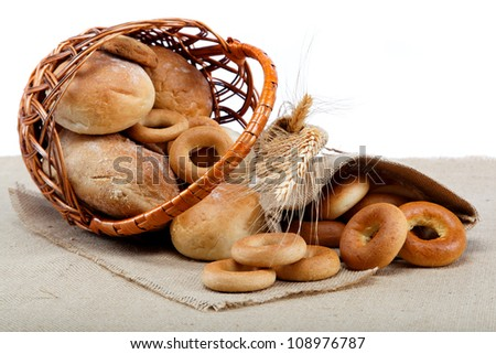 Fresh breads for a variety of sacking. - stock photo