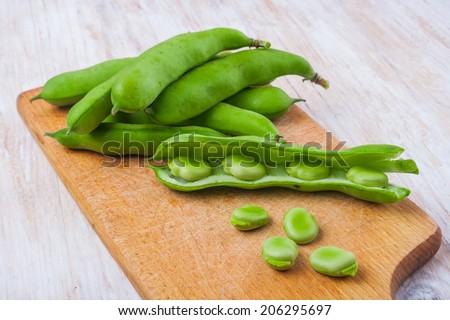 fresh broad bean - stock photo