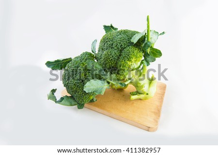 Fresh broccoli isolated on white background  - stock photo