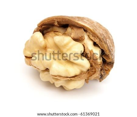 Fresh broken walnut on a white background - stock photo