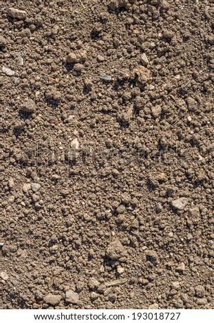 Fresh brown garden soil texture close up - stock photo