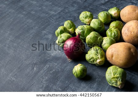 Fresh Brussel sprout background - stock photo