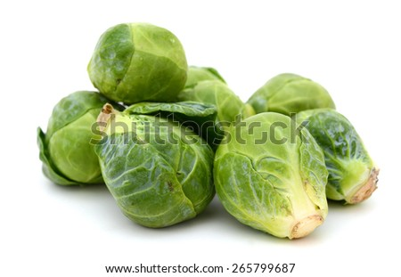fresh brussel sprouts on white background  - stock photo