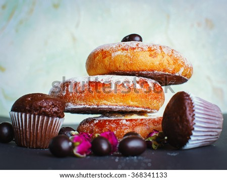 Fresh buns muffins with cheese - stock photo