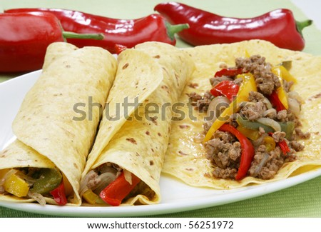 Fresh burrito with minced meat - stock photo
