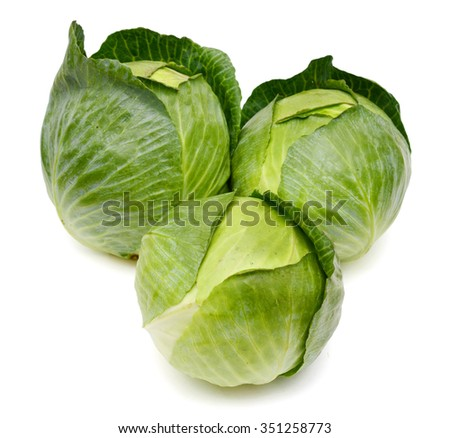fresh cabbage heads on white background  - stock photo