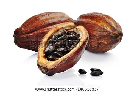 Fresh cacao fruit isolated on a white background - stock photo