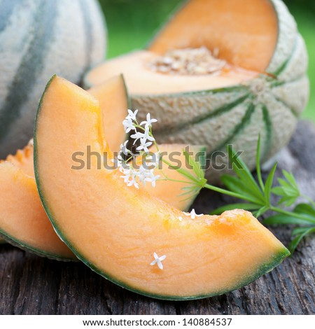 Fresh cantaloupe melons - stock photo