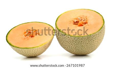 fresh cantaloupe sliced isolated on white  - stock photo