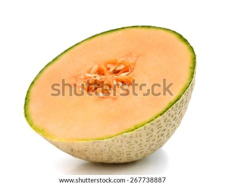 fresh cantaloupe sliced on white background  - stock photo