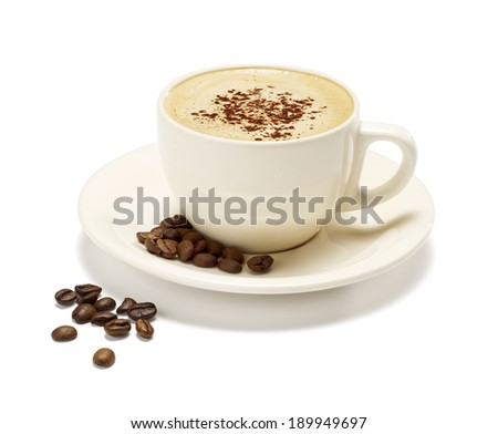 fresh cappuccino on a white background with a soft shadow with some coffee beans  - stock photo