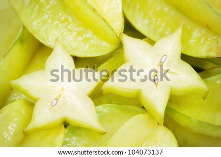 Fresh carambola, can be used as background - stock photo