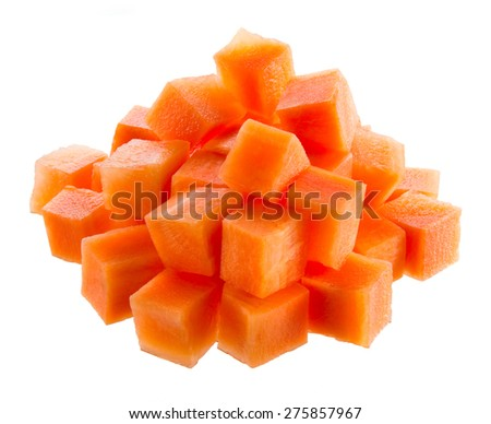 Fresh carrot. Cubes isolated on white - stock photo