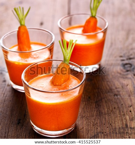Fresh carrot juice, healthy and delicious drink - stock photo