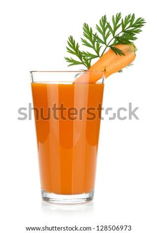 Fresh carrot juice. Isolated on white background - stock photo