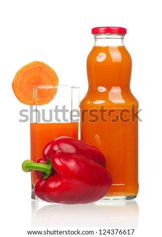 Fresh carrot juice with red pepper isolated on white background	 - stock photo