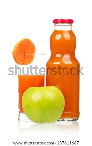 Fresh carrot juice with ripe green apple isolated on white background - stock photo