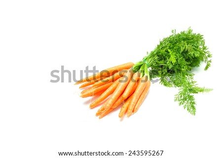 fresh carrot pile vegetable bouquet over white - stock photo