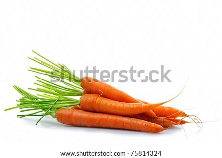 fresh carrot - vegetable group on white background - stock photo
