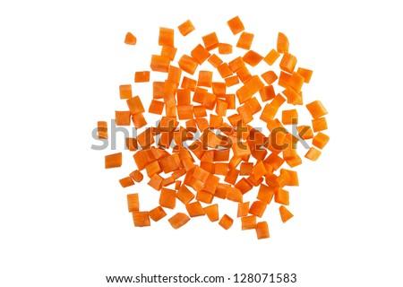 Fresh carrots, diced - stock photo