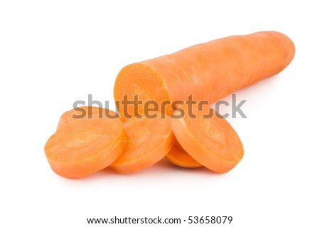 Fresh Carrots Isolated on a White Background - stock photo