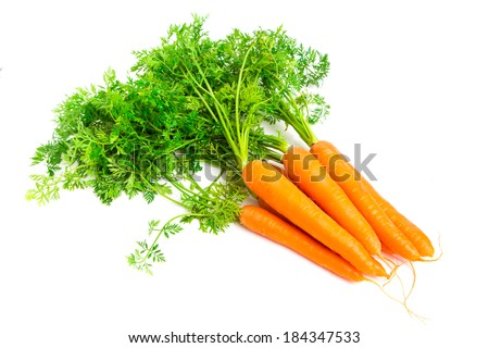 Fresh carrots isolated on white background - stock photo