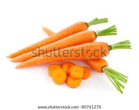 fresh carrots isolated on white background - stock photo