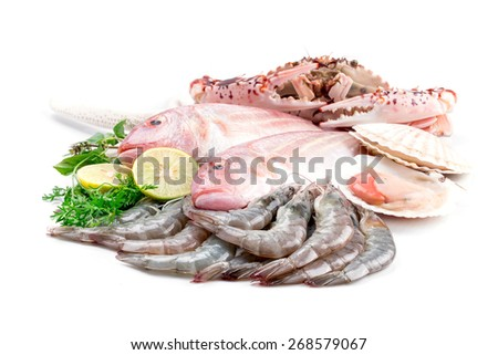 Fresh catch of fish and other seafood - stock photo