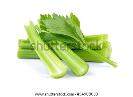 fresh celery on white background - stock photo