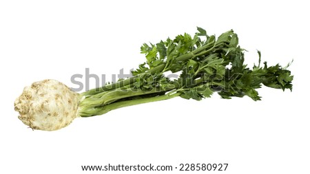 Fresh celery with green leaves isolated over white background - stock photo