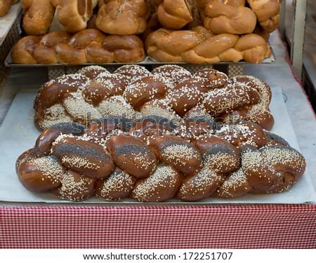 Fresh challach bread for Jewish celebration. - stock photo