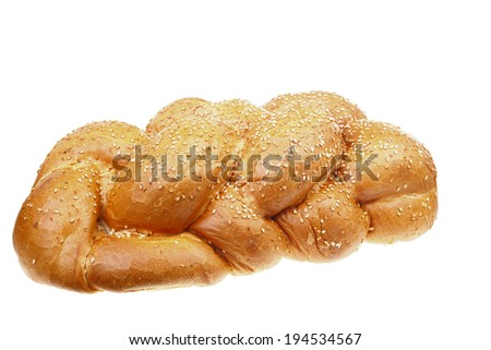 Fresh challah isolated on white background - stock photo