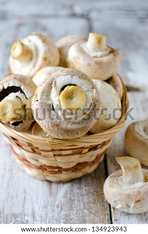 Fresh champignons. Selective focus - stock photo