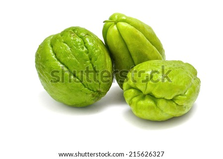 fresh chayote on white - stock photo