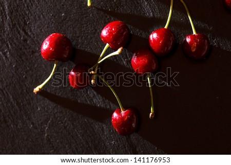 fresh cherries - stock photo